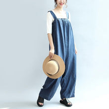 Load image into Gallery viewer, blue casual linen pants plus size stylish jumpsuit pants