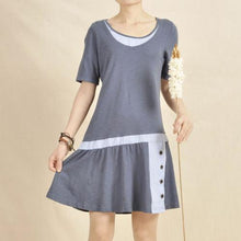 Load image into Gallery viewer, blue cotton dress causal fit flare sundress