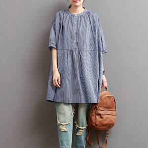 blue fine cotton blouse oversize striped tops short sleeve shirts