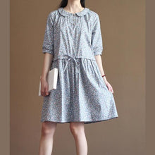 Load image into Gallery viewer, blue floral cotton sundress half sleeve fit flare dresses