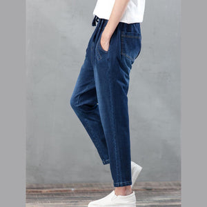 blue haram denim pants plus size jeans trousers elastic waist