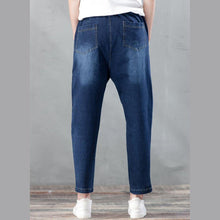 Laden Sie das Bild in den Galerie-Viewer, blue haram denim pants plus size jeans trousers elastic waist