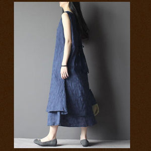 blue layered cotton summer dress long maxi sundress