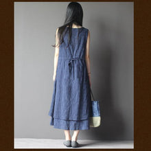 Load image into Gallery viewer, blue layered cotton summer dress long maxi sundress