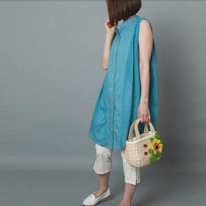 blue linen sundress oversize cotton summer dresses holiday casual dress
