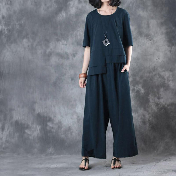 blue stylish asymmetric cotton t shirt and casual crop pants two pieces