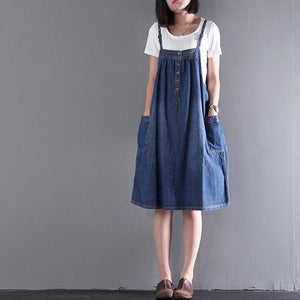 blue stylish summer  dress cotton sleeveless sundress plus size mid-dresses