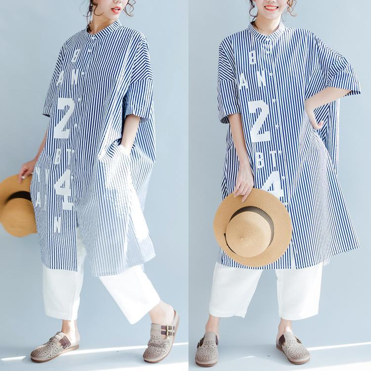 blue white striped cotton sundress plus size casual summer dresses short sleeve shirt dress