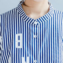 Load image into Gallery viewer, blue white striped cotton sundress plus size casual summer dresses short sleeve shirt dress