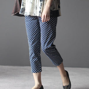 blue women dotted cropped pants trousers