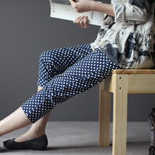 Load image into Gallery viewer, blue women dotted cropped pants trousers