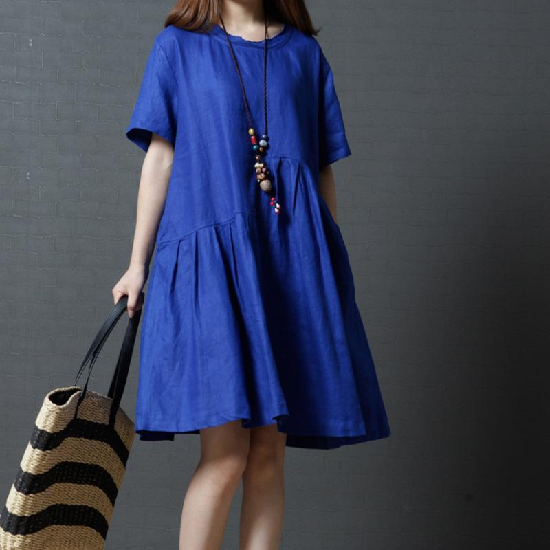 blue wrinkled casual linen dresses plus size sundress short sleeve mid dress