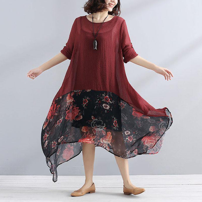 bohemian style maxi dresses Elegant Irregular Women Chiffon Linen Loose Floral Casual Splicing Red Dress