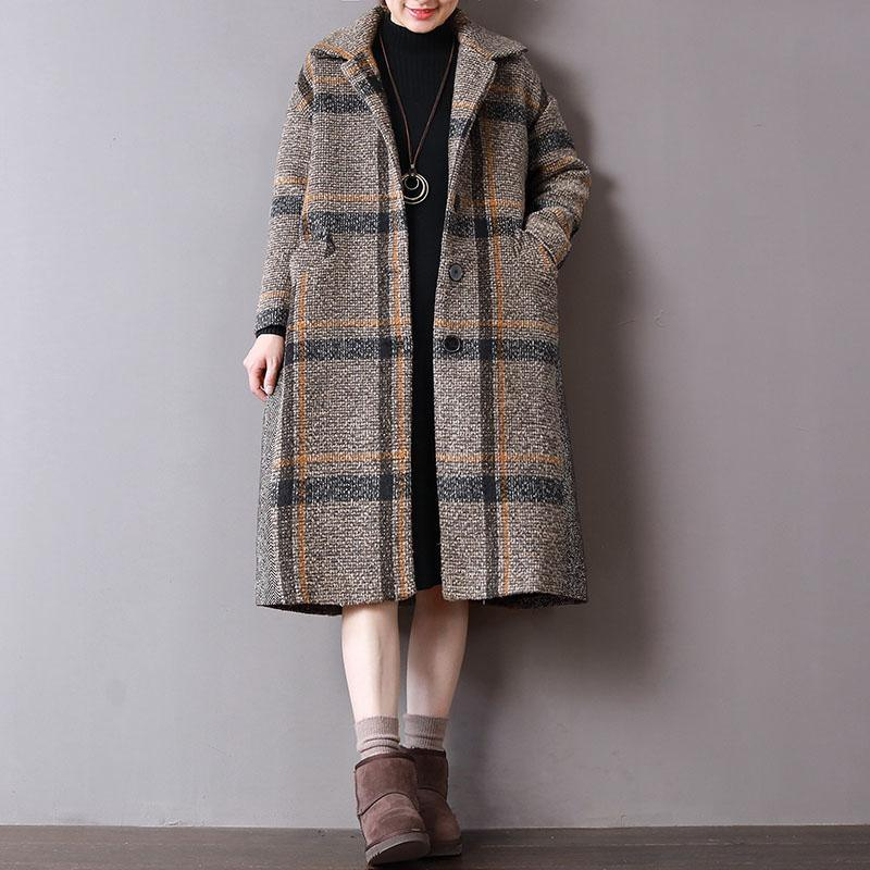 boutique Plaid woolen coats plus size clothing winter Turn-down Collar outwear Button Down long coat