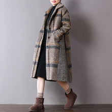 Load image into Gallery viewer, boutique Plaid woolen coats plus size clothing winter Turn-down Collar outwear Button Down long coat