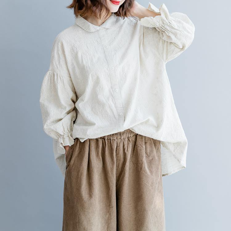 boutique beige linen tops trendy plus size linen maxi t shirts vintage ruffles sleeve embroidery linen clothing t shirt
