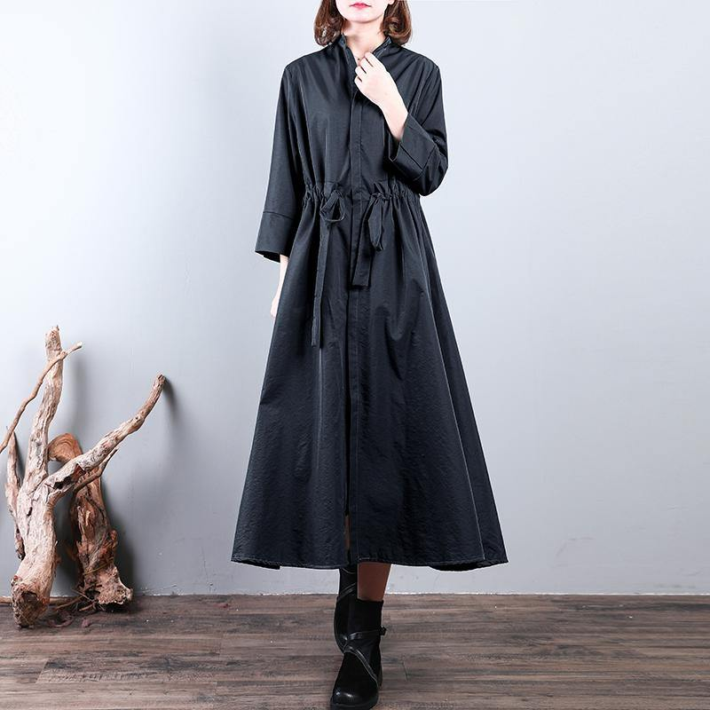 boutique black Coat plus size drawstring tunic cardigans New stand collar coats