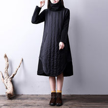 Load image into Gallery viewer, boutique black cotton dress oversize kaftans high neck YZ-2018111426