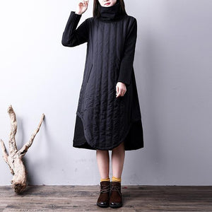 boutique black cotton dress oversize kaftans high neck YZ-2018111426