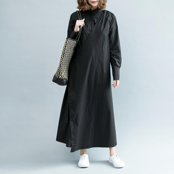 boutique black cotton maxi dress oversize Stand traveling dress women long sleeve tie waist cotton dresses