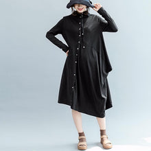Load image into Gallery viewer, boutique black fall dress casual Turn-down Collar pockets gown Elegant long sleeve asymmetric cotton dresses