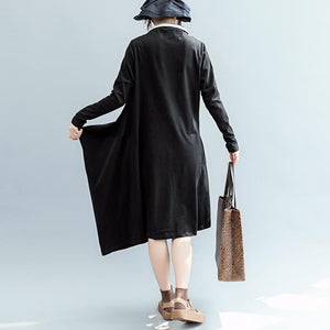 boutique black fall dress casual Turn-down Collar pockets gown Elegant long sleeve asymmetric cotton dresses