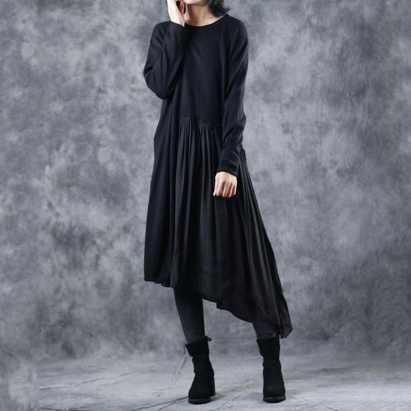boutique black knit dress fall fashion o neck wrinkled pullover 2018 patchwork pullover sweater