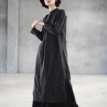 Load image into Gallery viewer, boutique black long linen dresses trendy plus size stand collar linen gown top quality side open linen caftans
