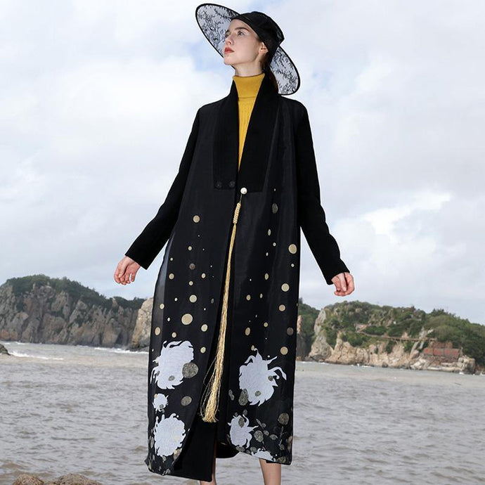 boutique black wool coat oversized maxi coat V neck side open jacket embroider long coats
