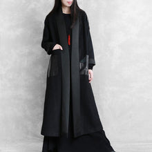 Load image into Gallery viewer, boutique black woolen outwear plus size long winter coat winter woolen slim outwear