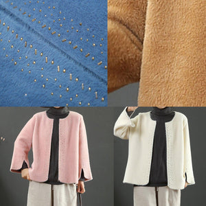 boutique blue o neck Woolen Coats Women plus size Jackets & Coats side open sleeve coats