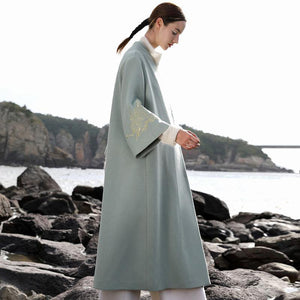 boutique blue wool overcoat plus size long winter coat V neck back side open embroidery flare sleeve coat