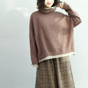 boutique brown  knit sweaters Loose fitting high neck pullover boutique batwing sleeve blouse