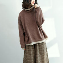 Load image into Gallery viewer, boutique brown  knit sweaters Loose fitting high neck pullover boutique batwing sleeve blouse