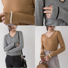 Load image into Gallery viewer, boutique brown knit sweaters oversized V neck pullover New slim side open fashion sweaters
