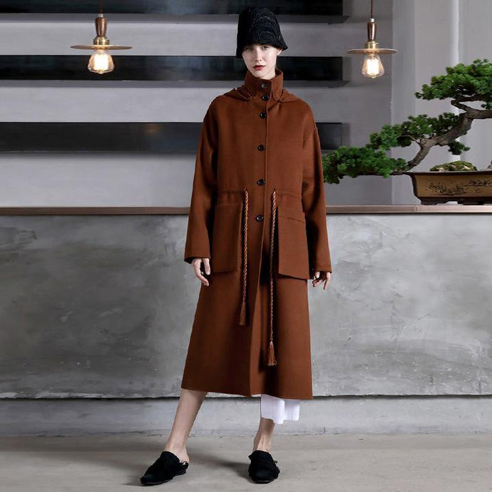 boutique chocolate Wool oversize Coats high neck side open outwear drawstring pockets long coats