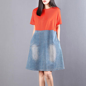 boutique cotton blended shift dress plus size Women Round Neck Short Sleeve Splicing Denim Dress