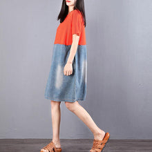 Load image into Gallery viewer, boutique cotton blended shift dress plus size Women Round Neck Short Sleeve Splicing Denim Dress