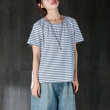 Load image into Gallery viewer, boutique cotton blended summer top plus size clothing Women Casual Short Sleeve Stripe White Tops