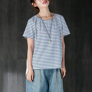 boutique cotton blended summer top plus size clothing Women Casual Short Sleeve Stripe White Tops