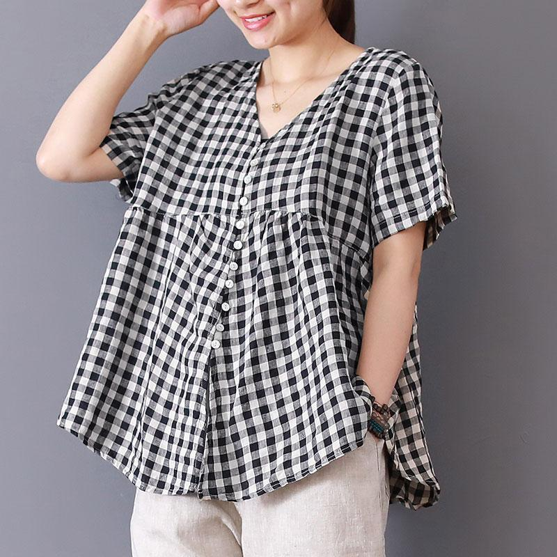 boutique cotton linen blouses trendy plus size Women Lattice Cotton Linen Short Sleeve V Neck Tops