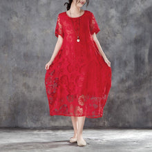 Load image into Gallery viewer, boutique cotton linen gown oversize Women Casual Short Sleeve Rose Pattern Red Dress