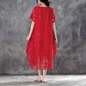 boutique cotton linen gown oversize Women Casual Short Sleeve Rose Pattern Red Dress