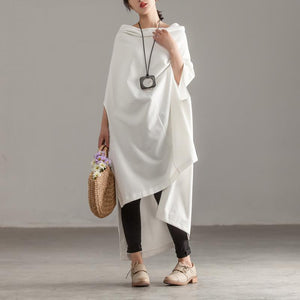 boutique cotton summer top plus size Women Cotton Pure White Bat Sleeve Irregular Tops