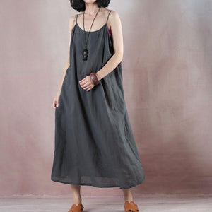 boutique dark gray cotton linen maxi dress oversize v neck pockets cotton linen gown  two pieces women half sleeve baggy dresses