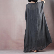 Load image into Gallery viewer, boutique dark gray cotton linen maxi dress oversize v neck pockets cotton linen gown  two pieces women half sleeve baggy dresses
