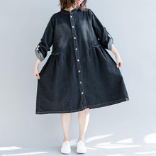 Load image into Gallery viewer, boutique denim black fall dress plus size clothing traveling dress embroidery 2018 stand collar dresses