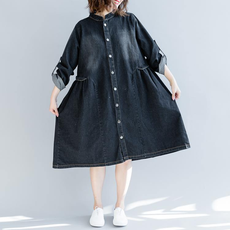 boutique denim black fall dress plus size clothing traveling dress embroidery 2018 stand collar dresses
