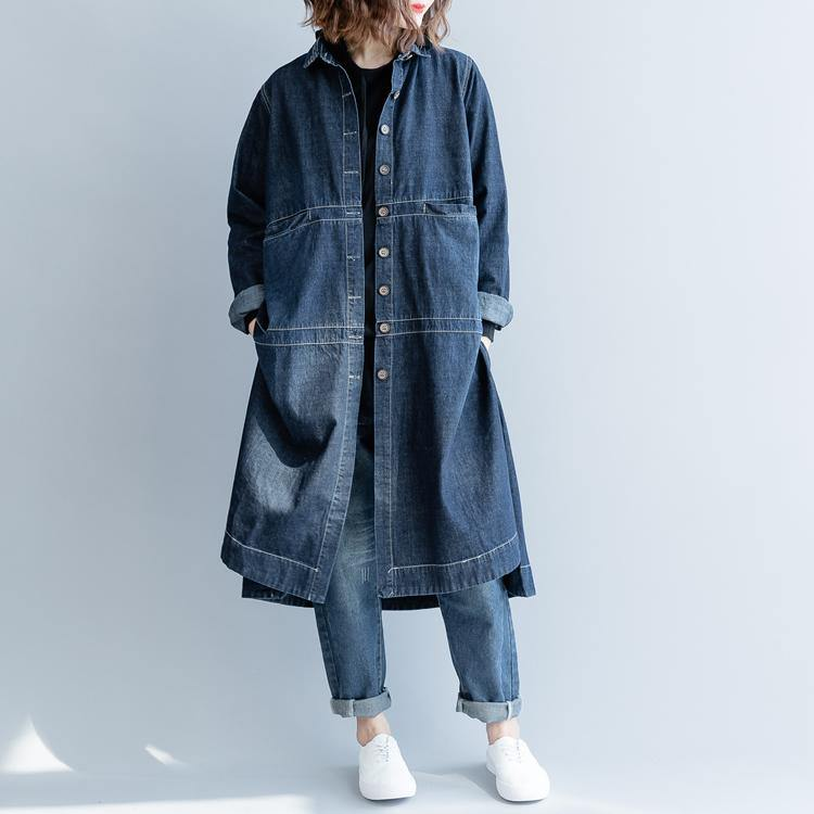 boutique denim blue Coat plus size patchwork Coats Fine lapel collar long coats