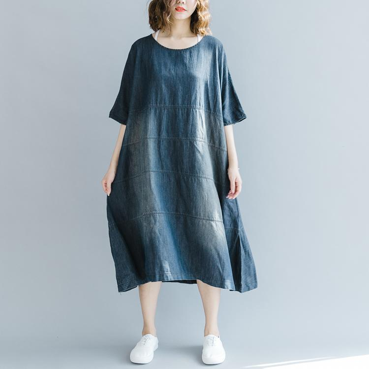 boutique denim blue dresses Loose fitting o neck baggy dresses traveling clothing vintage half sleeve patchwork dresses
